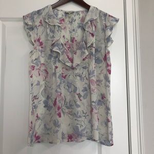 Joie Silk Floral Ruffle Blouse